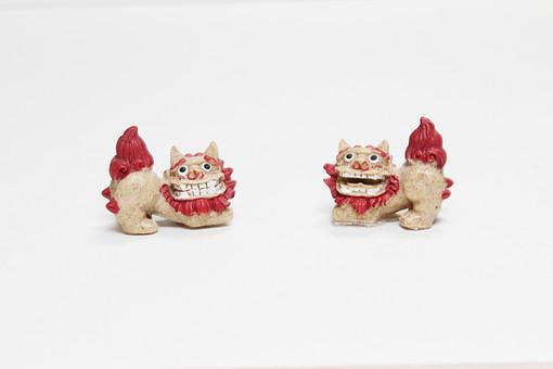 白バック 白背景 シーサー 工芸品 焼物 茶色 アート 沖縄 人形 魔除け 魔よけ 彫刻 手ずくり 土産 置き物 置物 飾り 生き物 伝説 かわいい アート 作品 顔 牙 対 ペア