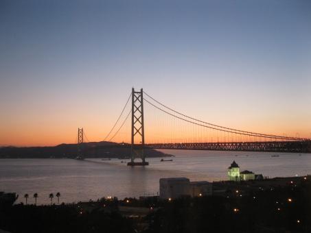 風景 夜景 海 空 橋 明石海峡大橋 夕暮れ 瀬戸内海 淡路島 神戸