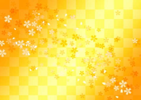 桜柄の背景_黄色,橙の写真
