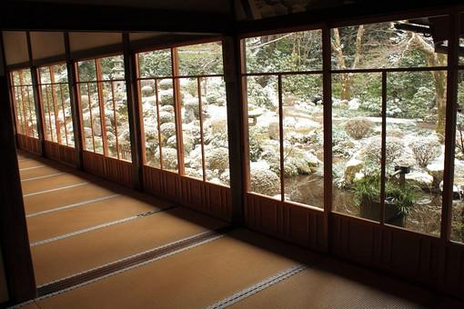 和室 広間 畳 古民家 民家 旅館 縁 窓 ガラス 冬 雪 庭 庭園 日本庭園 日本家屋 木造 木製 冬景色 室内 自然 植物 家 家屋