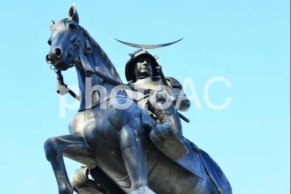 仙台青葉城、伊達政宗銅像の写真