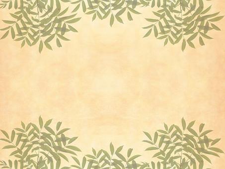 緑 枝 枝木 葉 葉っぱ リーフ 樹枝 ベージュ レトロ 植物 枝葉 背景 背景素材 バックグラウンド 自然 空間 余白 テクスチャ 質感 テキストスペース コピースペース 枠 フレーム ナチュラル グリーン 飾り枠 透ける 透かし 半透明 シンプル 自然派 エコロジー