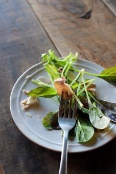 サラダ さらだ やさい 野菜 ベビーリーフ ルッコラ マッシュルーム ホワイトマッシュルーム フォーク 食べる 食卓 salad whitemushroom diningtable