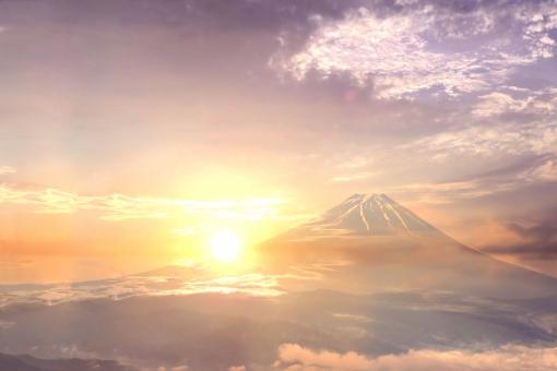 富士山と夕日のロマンチックな景色の写真