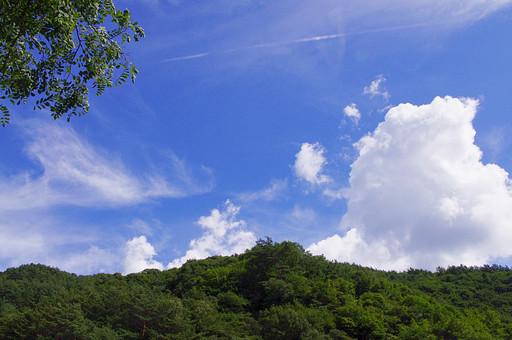 山奥 山 深緑 緑 グリーン 新鮮 空気 酸素 空 快晴 晴れ 晴天 曇り 白い雲 切り抜き 余白 素材 樹木 植物 風景 環境 大自然 大地 広大 青い 爽やか 夏 涼しい