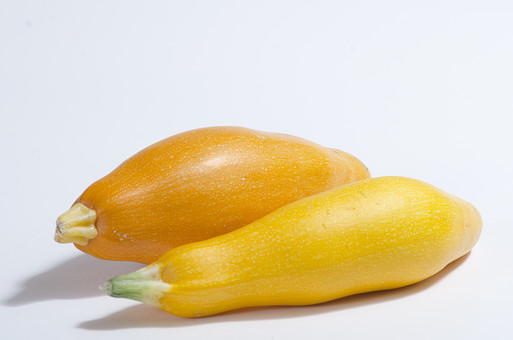 ズッキーニ ウリ科 カボチャ属 黄色 野菜 食料品 食品 食べ物 食べる 健康 フレッシュ 新鮮 自然 ダイエット 食材 農業 収穫 栄養 まるごと 実 ラタトゥイユ 瓜 イタリア料理 フランス料理 ヘタ アップ 白バック 白背景