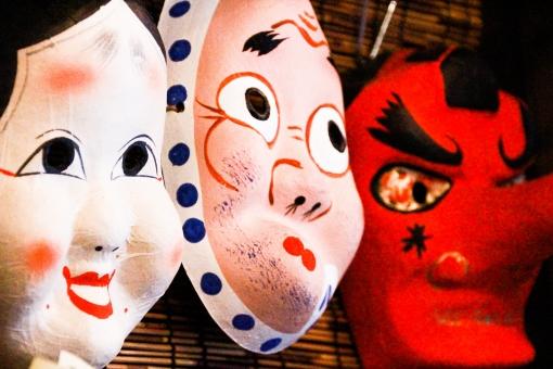 和 日本 祭り まつり 祭 おかめ ひょっとこ 天狗 日本 アジア 男性 男 女性 女 赤 白 青 笑い お笑い