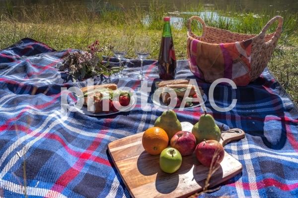 背景画像やテクスチャ素地に ピクニック アウトドア 週末 休日 天気の良い日 マイボトル 水筒 果物 花束 ピクニックバスケット 6の写真