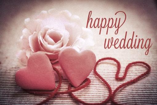 happy wedding かわいい キュート 恋愛 愛 恋 結婚 結婚式 挨拶 カード ウエディング ハート 花 植物 感情 気持ち 贈り物 糸 赤い糸 英語 レトロ