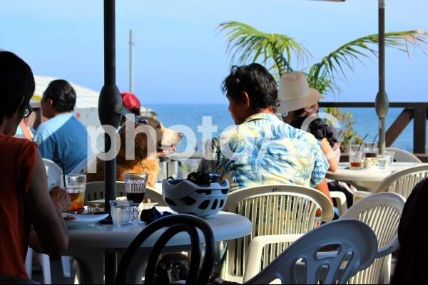 浜辺のカフェで愛犬とのひと時の写真