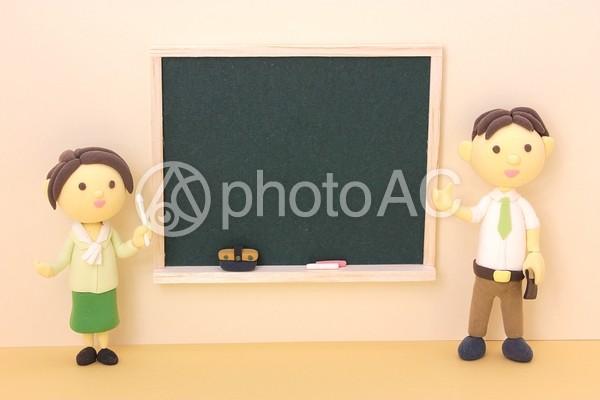 黒板と先生5の写真