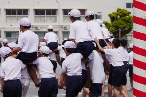 運動会 小学生 小学校 騎馬戦 白組 白 種目 団体 行事 頑張る 子供 子ども 成長