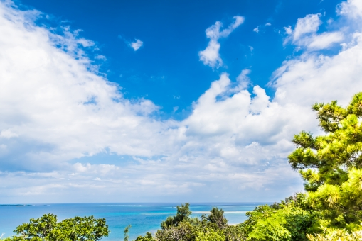 斎場御嶽 世界遺産 トンネル 海 太平洋 沖縄 トロピカル 神秘的 緑 観光客 観光地 すきま 雲 青空 植物 森 風景 オーシャン 夏 サマー バケーション 夏休み