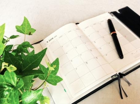 手帳 カレンダー メモ メモ帳 ペン 文具 観葉植物 植物 緑 シンプル 事務 事務用品 日付 月日 予定 スケジュール スケジュール帳 仕事 毎日 日常 予定帳