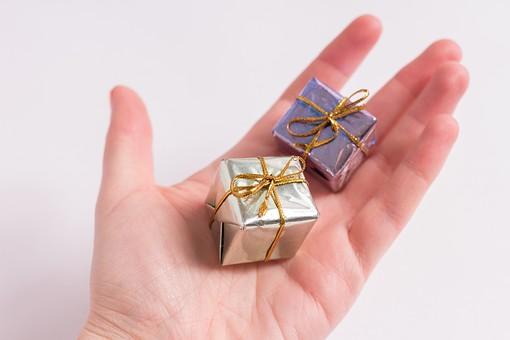 箱 小箱 ギフト 贈り物 渡す 手渡し プレゼント 屋内 人 人物 手 手の平 掌 載せる 載る 白 白バック 白背景 シルバー 銀色 ゴールド ブルー 青 結ぶ 2個 上から視線 質素 シンプル 思いやり 真心 接写