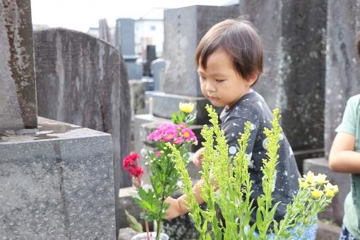お墓まいりする男の子の写真