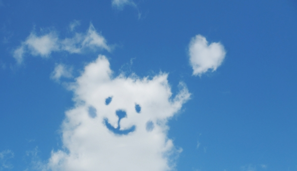 空 雲 青空 大空 快晴 晴れ お天気 天気 イヌ 子犬 イヌ わんこ ペット 家族 笑顔 ニコニコ ニッコリ ハート ココロ 絆 仲間 愛 幸せ 幸福 動物 ハートマーク こころ バナー