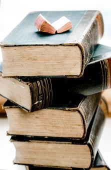 本 ブック 書物 書籍 図書 読書 読む 趣味 勉強 厚い 分厚い ミニ ミニチュア 小さい 小 ページ 開く めくる 捲る 置く 接写 クローズアップ アップ 積み重ねる 重ねる 乗せる 乗る 背表紙 積み上げる 豆本