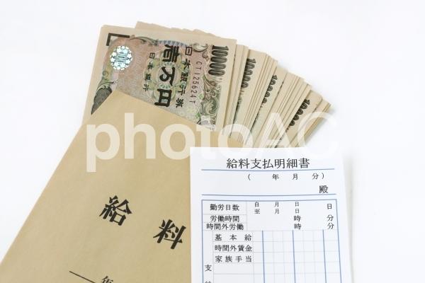 給料袋と明細書の写真