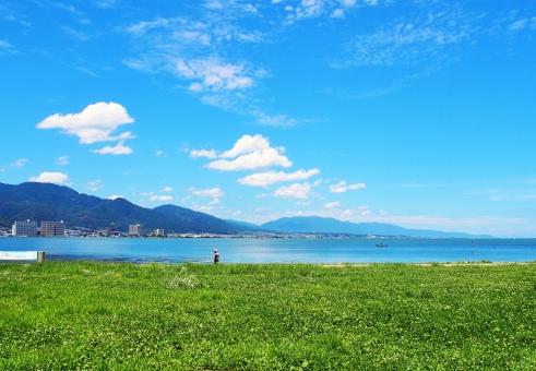 琵琶湖 湖 滋賀 大津 夏 晴れ おでかけ 散歩 旅行 川辺 空 lake biwa Shiga Otsu summer