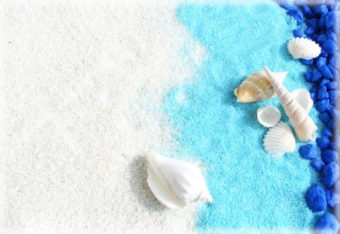 夏 海 貝 貝殻 貝がら 波 夏休み リゾート ビーチ 砂浜 浜辺 波打ち際 巻貝 二枚貝 青 白 水色 メッセージ テクスチャ 背景 summer sea shell blue white vacation background message card