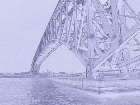 線画 線写真 大橋 ブリッジ 港 港湾 風景 橋 橋梁