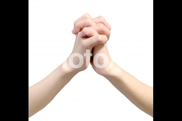 手(背景白/切抜きPSD)_お祈り2の写真