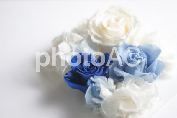青と白のバラのコサージュ #1の写真