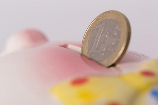お金 コイン 硬貨 現金 通貨 貨幣 小銭  つり銭 マネー 外国 海外 外貨 貯金  貯蓄 金融 経済 ビジネス 価値 貯金箱 豚 ブタ ぶた 貯める 白バック 白背景 アップ コツコツ 1ユーロ ユーロコイン ユーロ