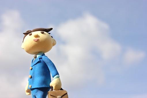 クレイ クレイアート クレイドール ねんど 粘土 クラフト 人形 アート 立体イラスト 粘土作品 人物 ビジネスマン ビジネス 働く人 サラリーマン 仕事 屋外 外 空 青空 鞄 営業 出勤 ローアングル