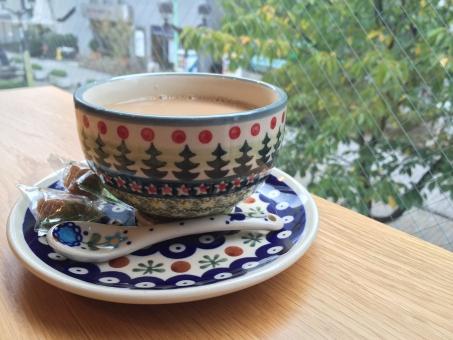 カフェオレ コーヒー お茶 カフェ 飲食店 レストラン 店内 眺め 自由が丘 おしゃれ カワイイ カップ デート 休憩 楽しい 癒し お出かけ