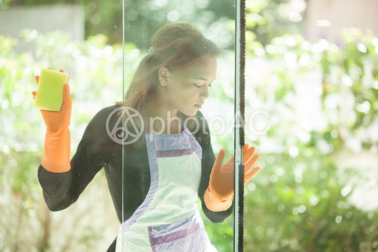 掃除 窓を磨く女性24の写真
