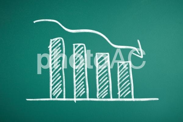 チョークで描かれた棒グラフの写真