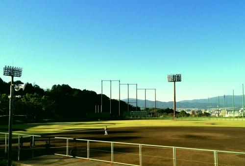 野球グラウンド 野球グランド グラウンド グランド 野球 球場 芝 芝生 木 青空 晴天 快晴 バックネット ナイター照明 ライト 照明 土 ピッチャーマウンド 応援 ピッチャー 選手 試合 練習 ソフトボール