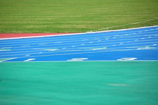 競技場 青 緑 ライン 線 芝 数字 数字,番号,ナンバー,競技場,フィールド,運動場,グラウンド,グランド,トラック,レーン,コース,白線,スタート位置,ライン,スタート,競技,陸上競技,短距離,長距離,トラック競技,運動,スポーツ,地面,アップ,施設,屋外,野外,外,風景,景色,無人