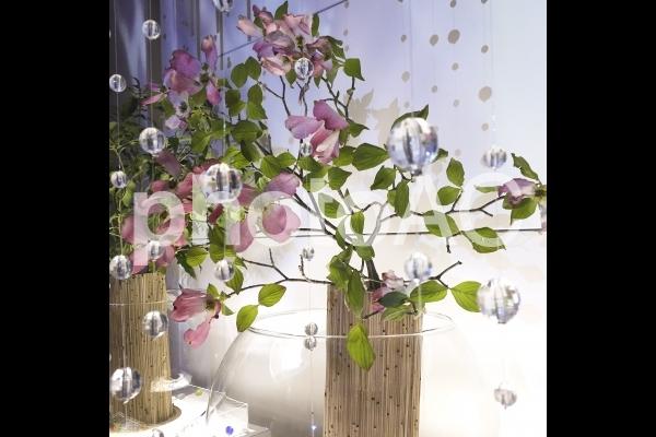 サンキャッチャーと花の写真