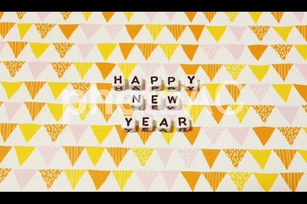 文字キューブ HAPPY NEW YEAR ハッピーニューイヤー 正面の写真