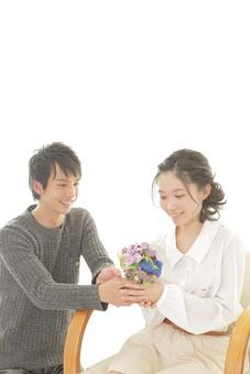 人物 男性 男子 女性 女子 若い カップル アベック 夫婦 新婚 プレゼント 記念日 誕生日 花 花束 ブーケ 白バック 白背景 部屋 仲良し 笑顔 円満 楽しい 和やか 幸福 幸せ ハッピー 恋人 日本人 mdjm008 mdjf026