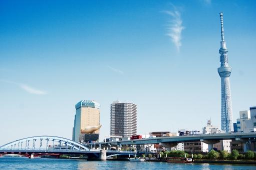 隅田川 スカイツリー Sky Tree Tokyo tokyo TOKYO Asahi アサヒビール Beer ビール オブジェ モニュメント 風景 観光 橋 bridge 川 青空 青 空 あおぞら あお そら フラムドール 炎 Blue 東京 快晴 tower