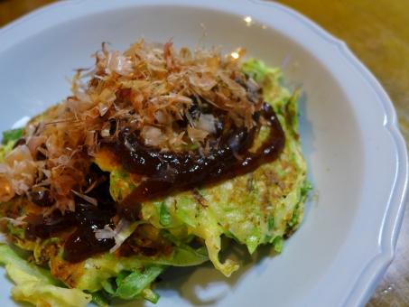 自然薯 お好み焼き 鉄板焼き おうちごはん 食卓 かつおぶし ソース キャベツ 粉物 関西 wildyam yam japan japanesefood homecooking