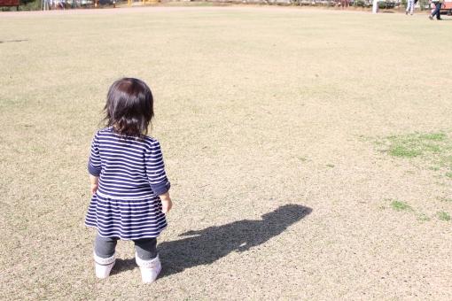 赤ちゃん 後ろ姿 女の子 娘 うしろ 後姿 うしろ姿 後ろ向き 子ども 子供 芝生 冬 芝枯れ 背中 立ってる たっち 影 1歳 1歳 1才 1才 一歳 一才 japan park 公園 ボーダー baby kid girl