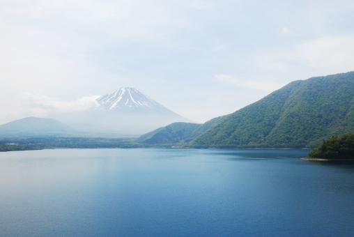 富士山 湖 ダム 日本 山 自然 景色 青 緑 fuji lake mountain