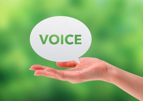 声のイメージと手の写真