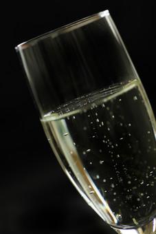 シャンパン シャンパングラス アルコール お酒 飲み物 ドリンク グラス 黒背景 ブラック 斜め 斜め構図 1杯 一杯 呑み 飲み シャンペン シャンパーニュ 三変酒 スパークリングワイン 発泡性ワイン 透明 透ける 気泡 炭酸 フランスワイン