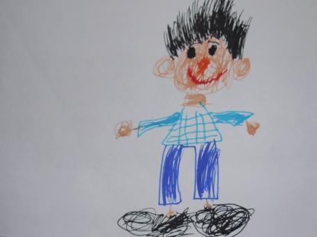 こどもの絵 子どもの絵 子供の絵 男の子 お父さん おとうさん パパ かわいい 可愛い 青い服 あおい服 お絵かき 父の日 絵画 芸術 アート ありがとう 大好き 感動 親子愛 才能 アーティスト 5歳 5歳児 4歳 4歳児