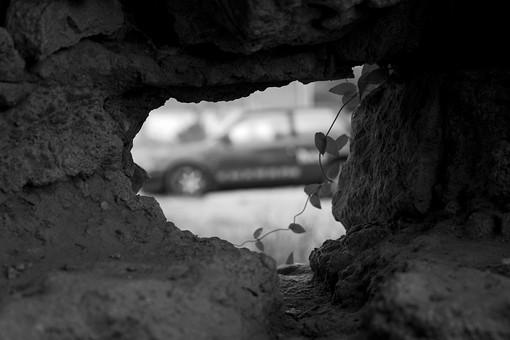 白黒 モノクロ 壁穴 壁 塀 穴 建物 葉 葉っぱ 木の葉 自然 植物 屋外 環境  広場 公園 景色 風景 車 乗り物 駐車 駐車場 パーキング のぞき 覗き 覗き穴