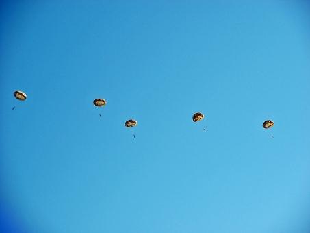 落下傘 降下 空挺部隊 空挺団 第一空挺団 空の神兵 精鋭部隊 特殊部隊 青空 航空自衛隊 自衛隊 秋空 群青 紺碧 航空ショー イベント 秋のイベント 入間基地 基地 空 風景 景色 パラシュート パラシュート部隊