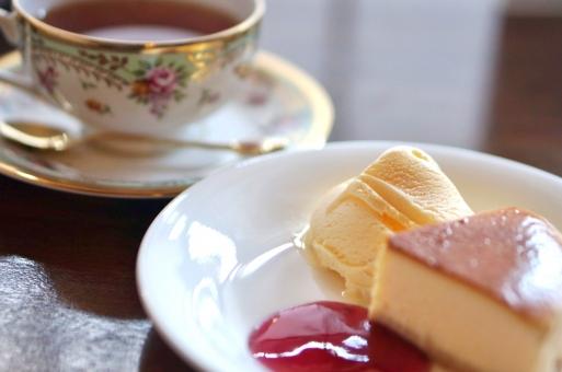 ケーキセット チーズケーキ アイス アイスクリーム 紅茶 アフタヌーンティー ティー ミルクティー レモンディー セット ケーキ ソース ジャム 喫茶店 カフェ メニュー ランチ 喫茶