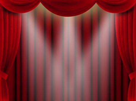 カーテン 赤 舞台 ステージ 発表 緞帳 受賞 お祝い 記念 スペシャル 特別 アワード 表彰 豪華 ゴージャス ライト スポットライト 布 幕 荘厳 重厚 背景 バック
