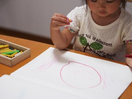 子供 幼児 落書き クレパス 画用紙 クレヨン girl japanese draw play kids child 女児 子ども 顔 似顔絵 絵 女の子
